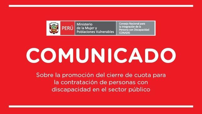 Comunicado sobre la promoción de cierre de cuota laboral sobre la contratación de personas con discapacidad en el sector público