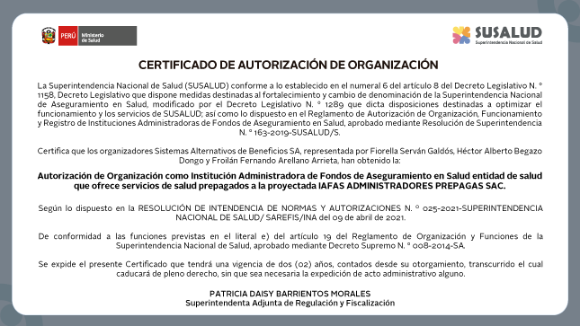 Certificado de Autorización de Organización