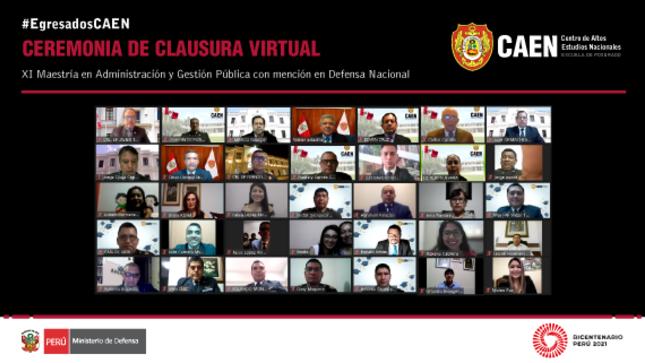 Ceremonia de clausura virtual - XI Maestría en Administración y Gestión Pública con mención en Defensa Nacional
