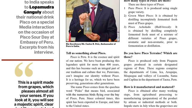 "The Ambassador of Peru, H.E Mr. Carlos R. Polo speaks about the national drink of Peru ""Pisco"", on the occasion of Pisco Sour Day"