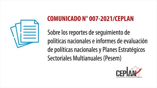 Comunicado 007-2021/CEPLAN