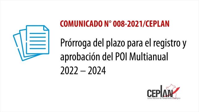 Comunicado 008-2021/CEPLAN