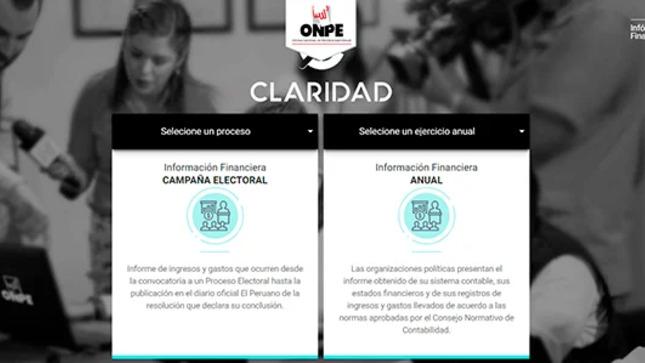 """Plataforma """"Claridad"""" de la ONPE permite conocer ingresos y gastos de campaña"""