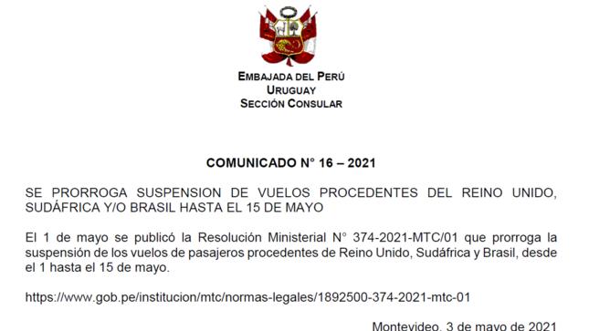 Se prorroga suspención de vuelos procedentes del Reino Unido, Sudáfrica y/o Brasil hasta el 15 de mayo