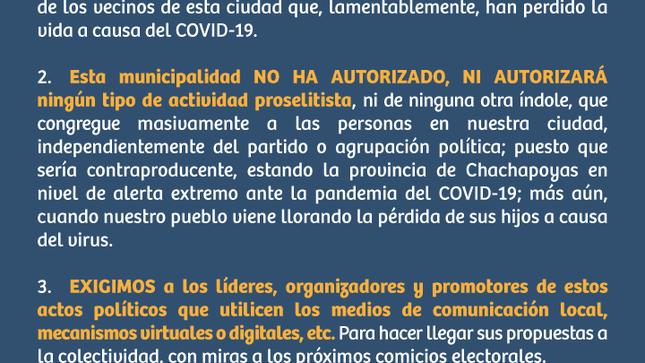 La Municipalidad Provincial de Chachapoyas se dirige a la opinión pública