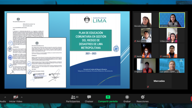 MML aprobó su Plan de Educación Comunitaria de GRD 2021-2023 con el apoyo del Cenepred