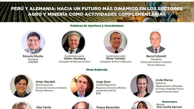 """Seminario Web """"Perú y Alemania: hacia un futuro más dinámico en los sectores agro y minería como actividades complementarias"""""""
