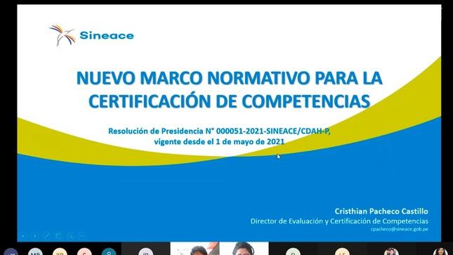 Sineace presentó nuevas directivas de certificación de competencias a las entidades certificadoras autorizadas