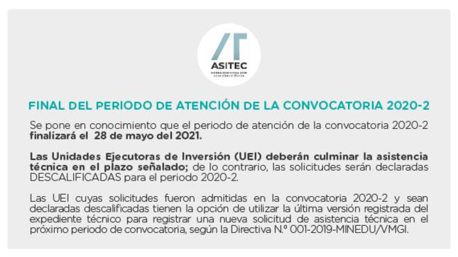 ASITEC: Final del Periodo de atención de la convocatoria 2020-2