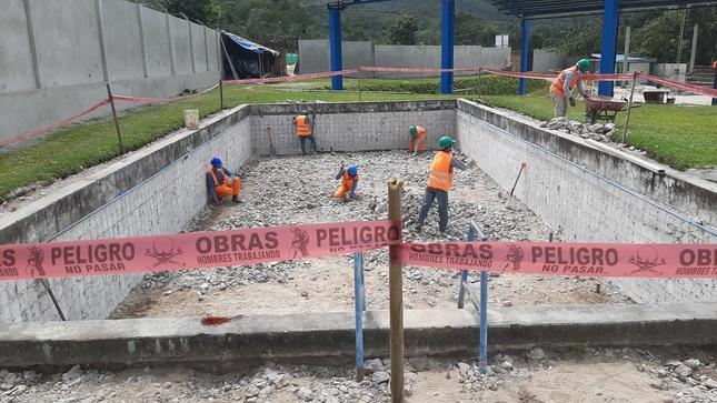 Mejoramiento del Polideportivo en el Barrio San Juan del Arenal, reporta un avance del 18 % en su ejecución
