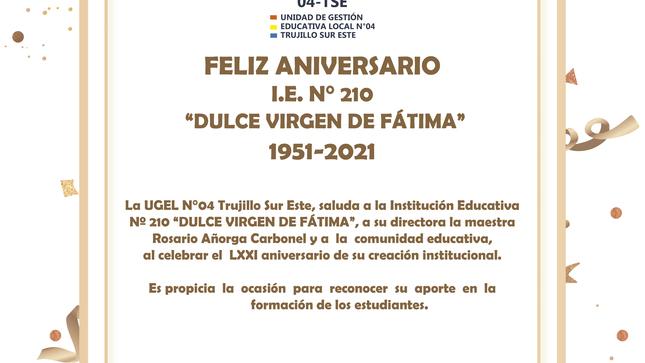 "Feliz aniversario i.e. N° 210 ""dulce virgen de fátima"" 1951-2021"