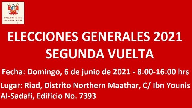 ELECCIONES GENERALES 2021 – Segunda Vuelta