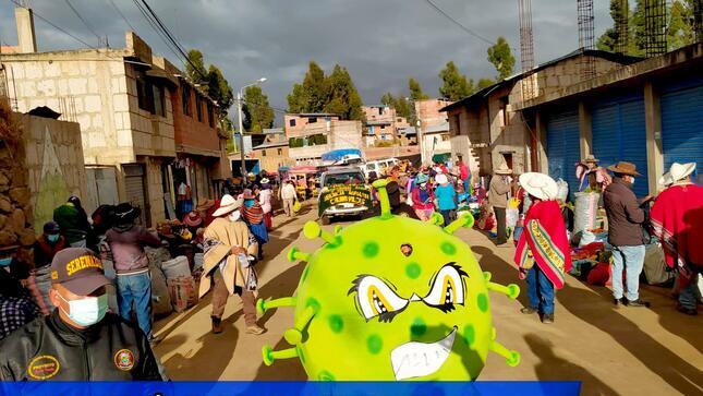 sensibilización en los diferentes mercados itinerantes de la Ciudad de Santo Tomás, en prevención de COVID -19.