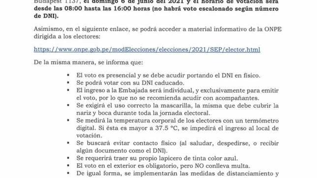 Comunicado Sobre segunda vuelta Elecciones Generales 2021