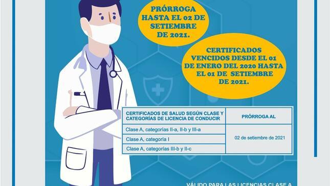 MTC amplía vigencia de certificados médicos para brevetes que han caducado hasta setiembre de 2021
