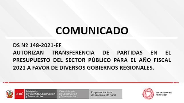 Autorizan Transferencia de partidas en el Presupuesto del Sector Público para el año fiscal 2021 a favor de diversos Gobiernos Regionales