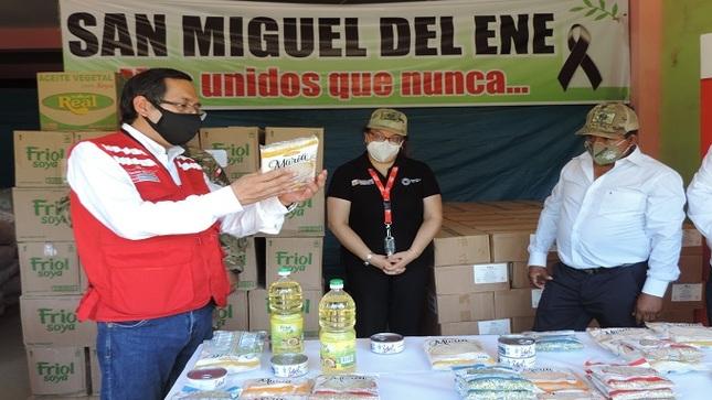 Ministra Silvana Vargas supervisó en Vizcatán del Ene la entrega de 10.37 toneladas de alimentos de Qali Warma a 1800 personas vulnerables