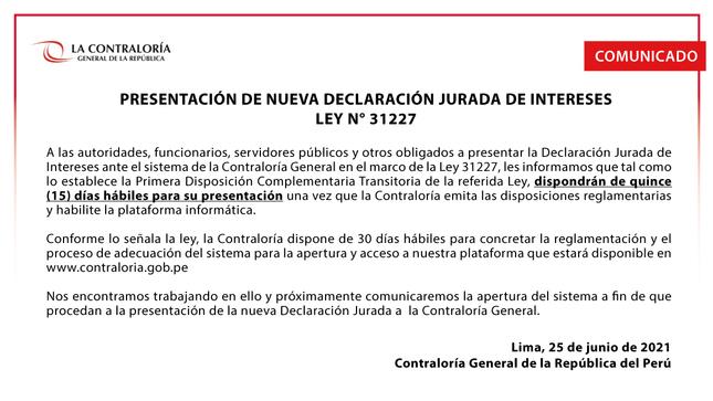 Presentación de nueva Declaración Jurada de Intereses