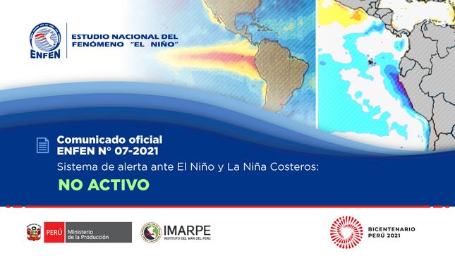COMUNICADO ENFEN N°07-2021: Estado del sistema de alerta: No activo