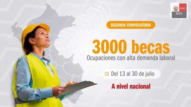 MTPE lanza convocatoria de 3000 becas para jóvenes sin empleo formal que no se encuentren estudiando