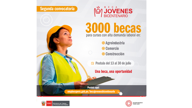 MTPE y MIDAGRI lanzan 3000 becas para jóvenes en agroindustria, comercio y construcción