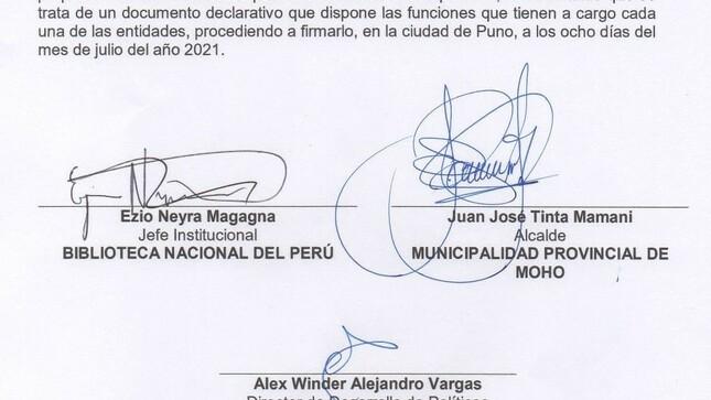 la municipalidad realiza firma de compromiso interinstitucional con la biblioteca nacional del Perú