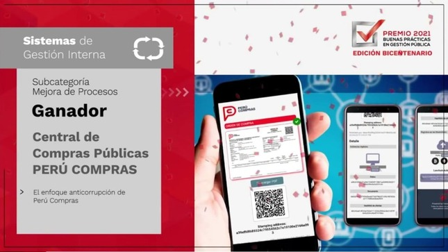 El enfoque anticorrupción de PERÚ COMPRAS ganó el Premio a las Buenas Prácticas en Gestión Pública 2021