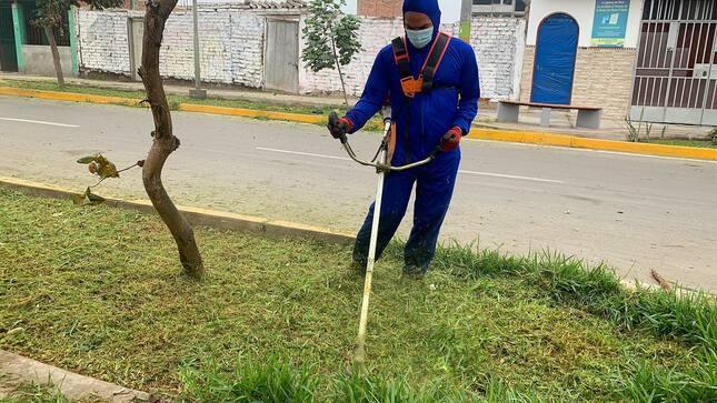 Parques y jadines de Brranca reciben mantenimiento.