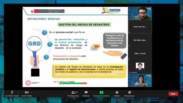 Especialistas del Cenepred fortalecen las capacidades de servidores de la Municipalidad Metropolitana de Lima