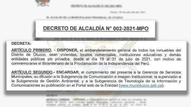 Embanderamiento General de todos los inmuebles del Distrito de Otuzco