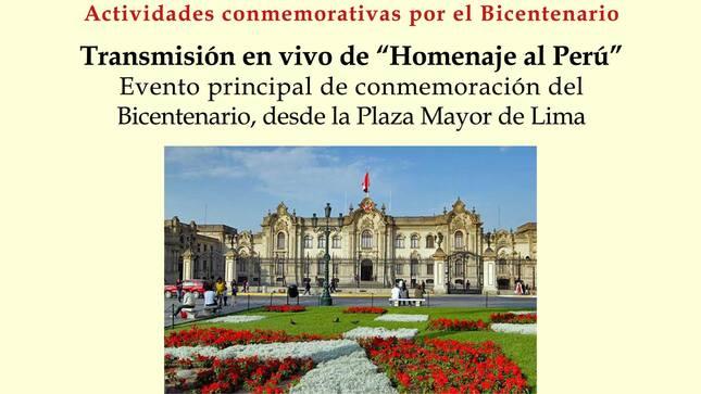"""La Embajada del Perú en México transmitirá """"Homenaje al Perú"""" desde la Plaza Mayor de Lima"""