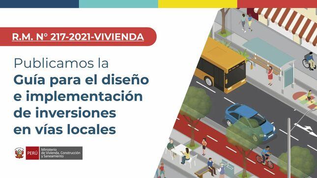 Aprueban guía para mejorar el diseño e implementación de proyectos de pistas, veredas y equipamiento urbano