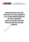 """Vista preliminar de documento Proyecto normativo """"Disposiciones para el proceso de adecuación a las condiciones básicas de instituciones educativas de gestión privada de educación básica"""""""