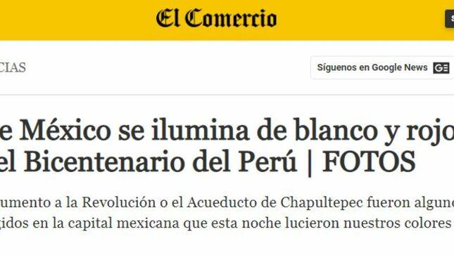 """""""Ciudad de México se ilumina de blanco y rojo para celebrar el Bicentenario del Perú"""""""