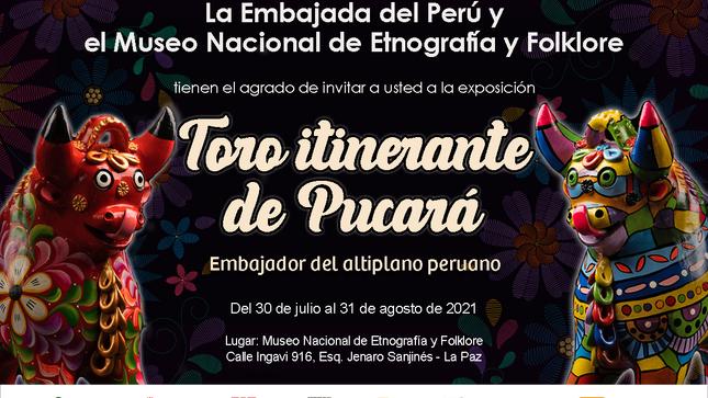 """Inauguración de la exposición """"Toro Itinerante de Pucará, Embajador del Altiplano Peruano"""" en el MUSEF"""
