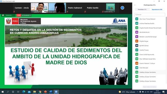 Autoridad Nacional del Agua participa en taller sobre sedimentos en las cuencas andino-amazónicas