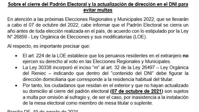 Sobre el cierre del Padrón Electoral y la actualización de dirección en el DNI para evitar multas.