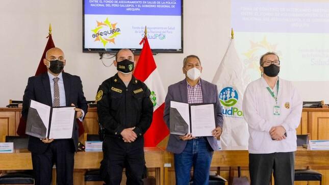 Miembros de la familia policial recibirán atenciones por Covid-19 en establecimientos de salud del Gobierno Regional de Arequipa