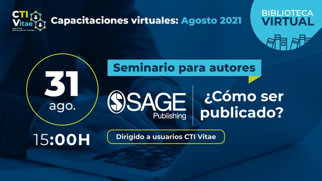 Participa del Seminario SAGE Publishing - ¿Cómo ser publicado? este 31 de agosto