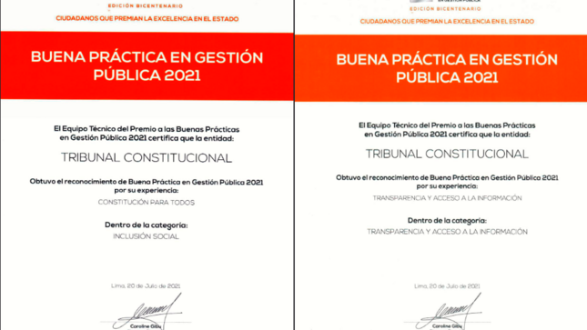 Ciudadanos al Día otorga al Tribunal Constitucional certificados de buenas prácticas en gestión pública 2021