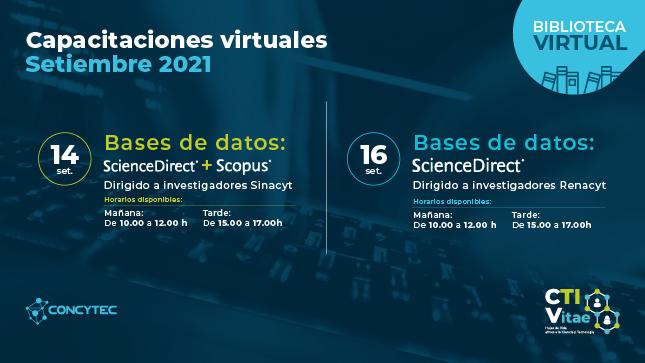 Biblioteca Virtual de CTI: participa en las capacitaciones virtuales gratuitas del Concytec en septiembre