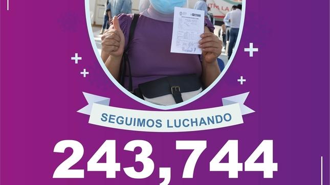 Seguimos en la lucha, mas de 243 mil personas vacunadas  con la segunda dosis contra el #COVID19 en nuestra región.