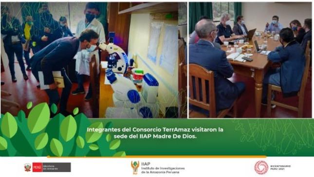 IIAP Madre De Dios recibió la visita de los integrantes  del Consorcio TerrAmaz