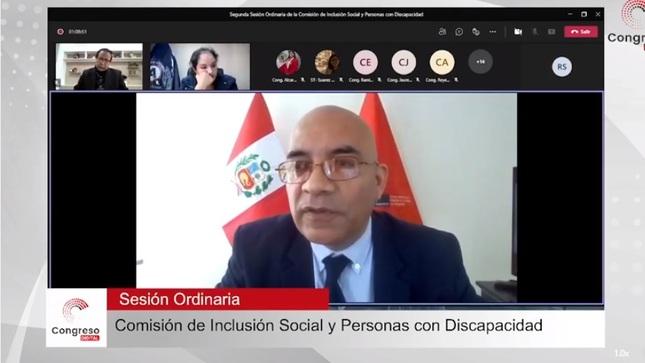 Presidente del Conadis se representó ante la  Comisión de Inclusión Social y Personas con Discapacidad del Congreso.
