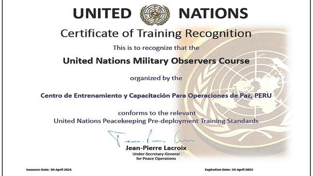 Cecopaz recibe Certificado de Reconocimiento de Entrenamiento en misiones de las Naciones Unidas
