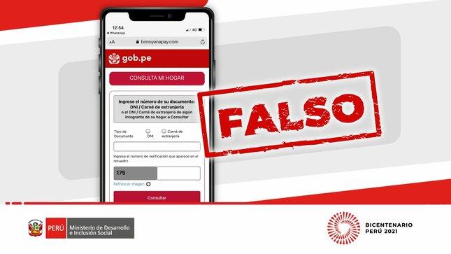 Bono Yanapay: alertan sobre  falsas páginas web que buscan sorprender a la ciudadanía