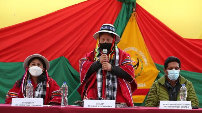 Premier Guido Bellido reinstala en Cotabambas espacio de diálogo que evaluará compromisos asumidos por el Gobierno y minera Las Bambas
