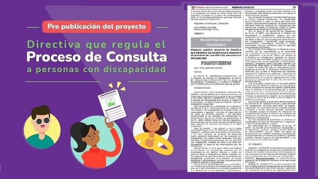Publican proyecto de Directiva que establece las pautas para el desarrollo de procesos de consulta a las personas con discapacidad