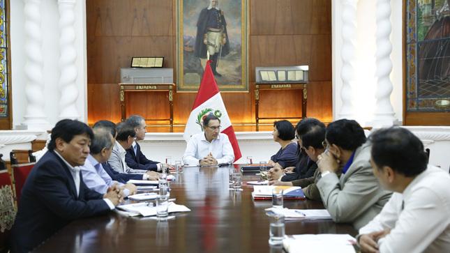 Presidente Vizcarra se reunió con gremios del Consejo Nacional de Trabajo en Palacio de Gobierno