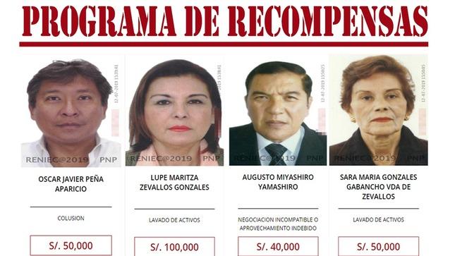 Lupe Zevallos y Augusto Miyashiro son incluidos en Programa de Recompensas del Mininter